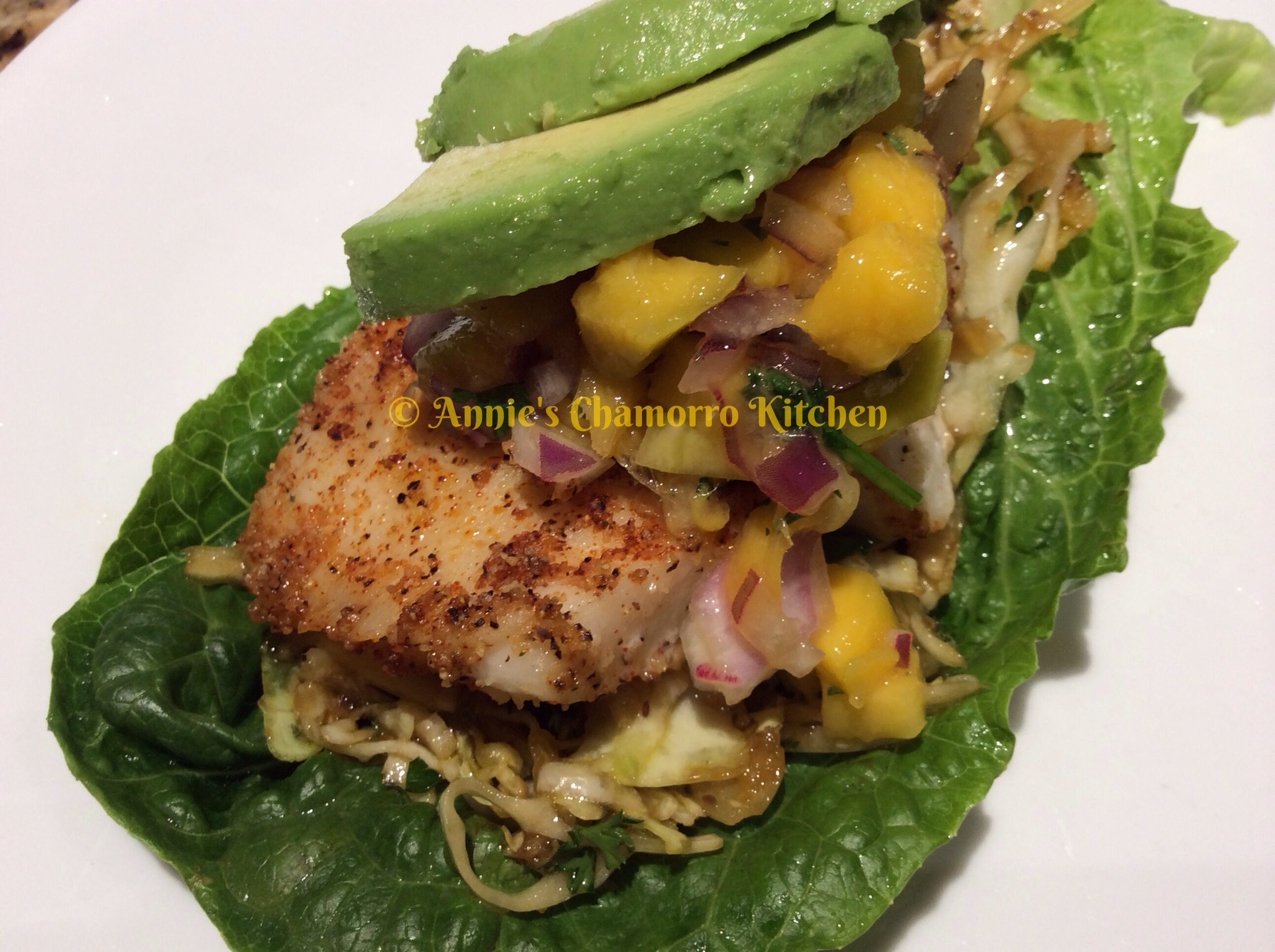 Fish Tacos with Mango Salsa and Tangy Coleslaw | Annie's Chamorro ...