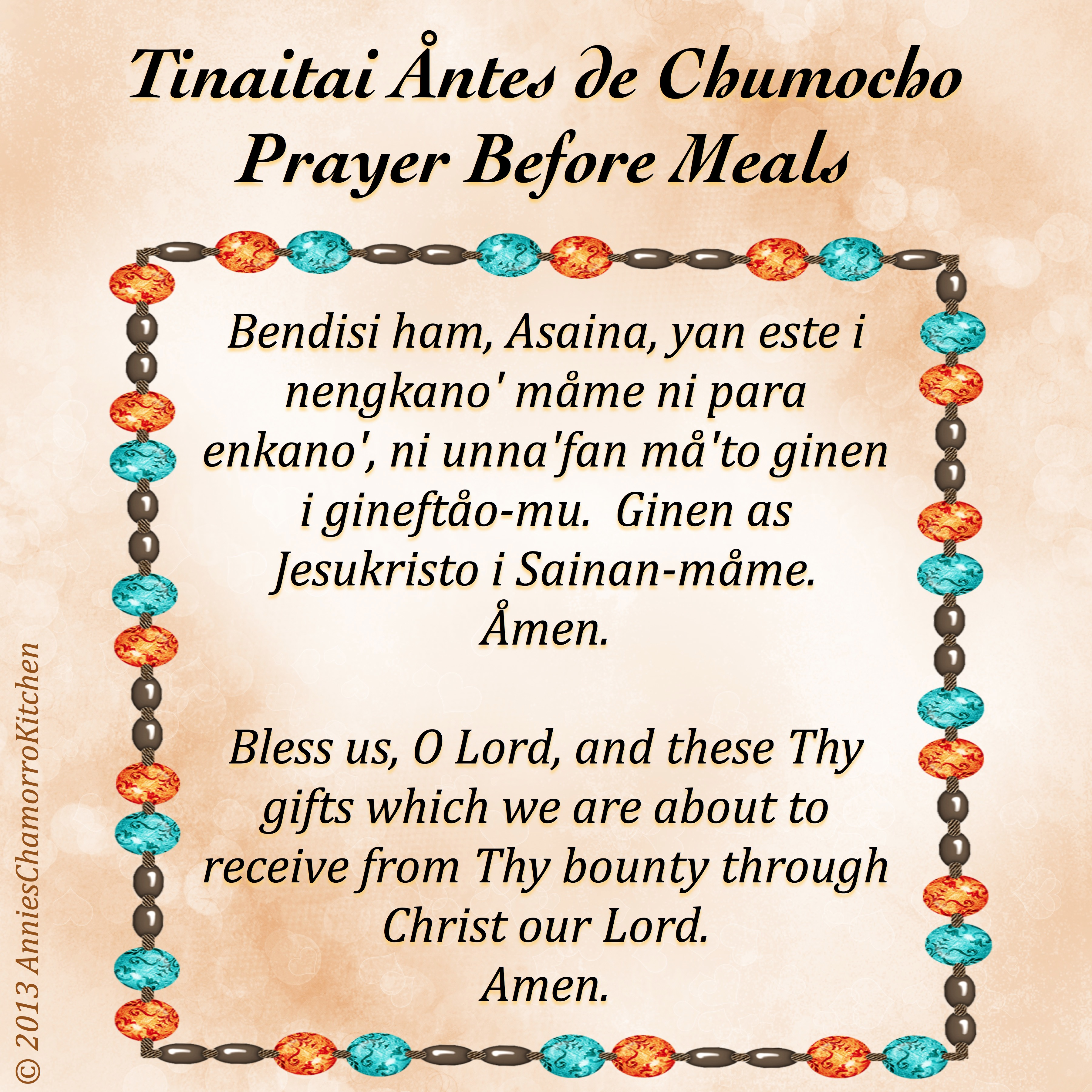 Prayer Before Meals ~ Tinaitai Åntes de Chumocho | Annie's Chamorro ...