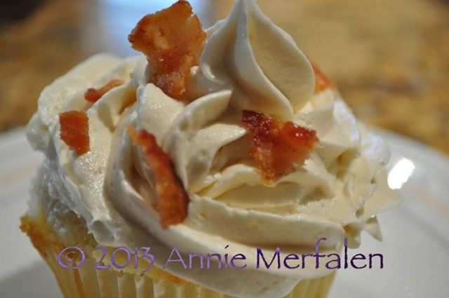 Bacon Maple Pancake Muffins with Maple Buttercream Frosting